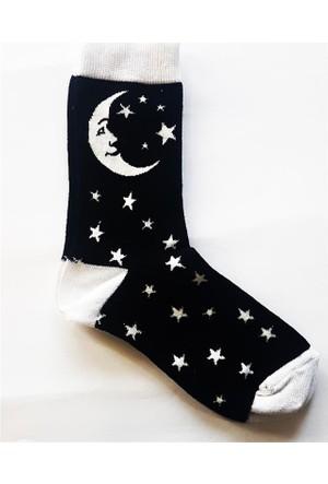 Köstebek Ay Ve Yıldızlar Siyah Çorap
