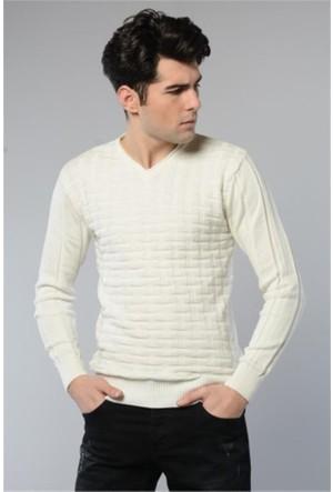 Rodin Hills Ekru V. Yaka Kare Desen Triko Sweat Shirt 1090