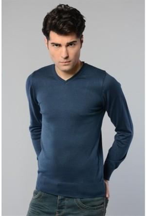 Rodin Hills İndigo V. Yaka Basic Triko Sweat Shirt 1024