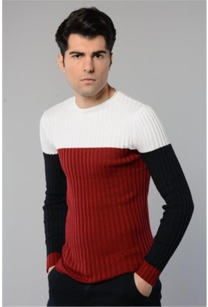 Rodin Hills Beyaz O. Yaka Üç Renk Triko Sweat Shirt 8020