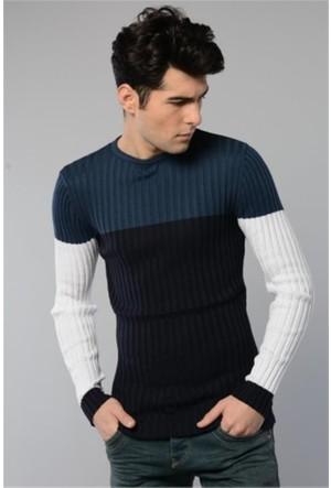 Rodin Hills İndigo O. Yaka Üç Renk Triko Sweat Shirt 8020