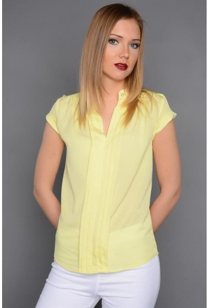 Rodin Hills Sarı Kadın Gömlek Kosuz Poly 0444
