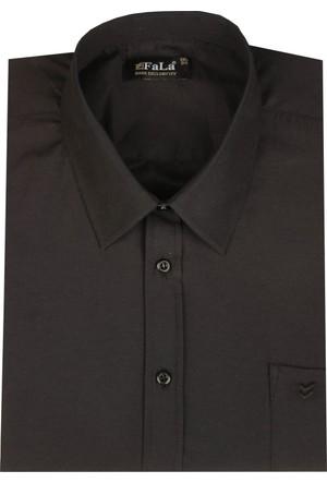 Fala Jeans Büyük Beden Kısa Kol Düz Gömlek - Siyah