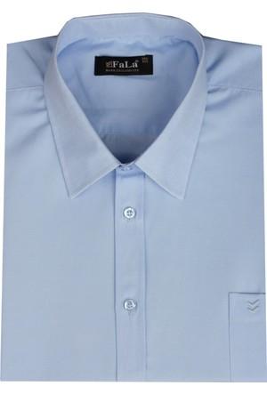 Fala Jeans Büyük Beden Kısa Kol Düz Gömlek - Mavi