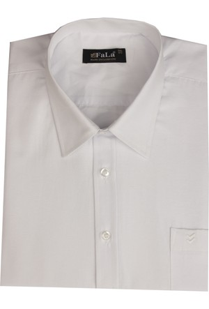 Fala Jeans Büyük Beden Kısa Kol Düz Gömlek - Beyaz