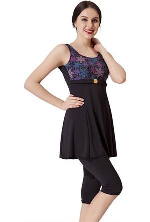 Remsa Mayo Yarı Kapalı Taytlı Elbise Mayo Bahar Siyah
