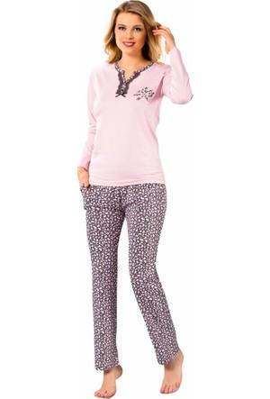 Remsa Pijama Pamuklu Bayan Pijama Takımı 2182 Pembe