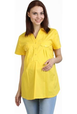 Görsin Hamile Kısa Kol Gömlek Sarı