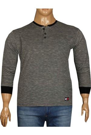 Fala Jeans Büyük Beden Düğmeli Yaka Tshirt Siyah