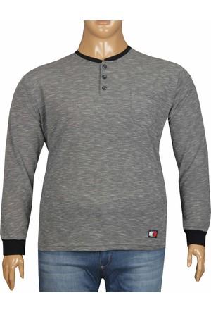 Fala Jeans Büyük Beden Düğmeli Yaka Tshirt Lacivert