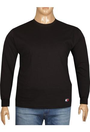Fala Jeans Büyük Beden Bisiklet Yaka Tshirt Siyah