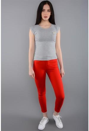 Rodin Hills Kırmızı Kadın Pantolon Cepli Yüksek Bel 1909