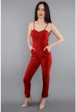 Rodin Hills Kırmızı Kadın Tulum Elbise İp Askılı 8037