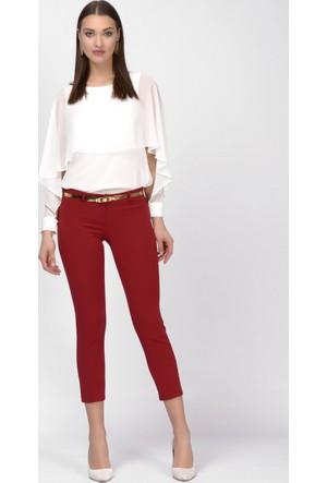 İroni Dar Paça Koyu Kırmızı Pantolon