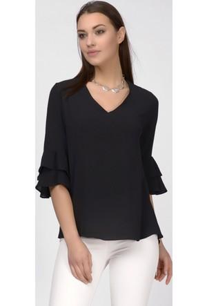 İroni Kolları Fırfırlı V Yaka Siyah Bluz