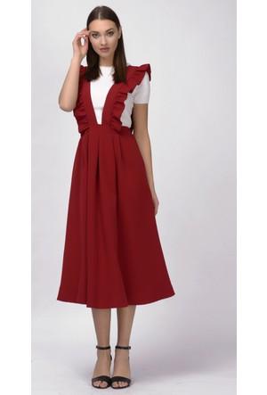 İroni Koyu Kırmızı Salopet Elbise