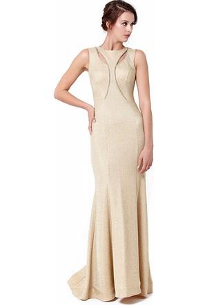 Hot Contact Göğüs Kısmı Y Detayı Olan Zırh Modeli Sade Uzun Abiye