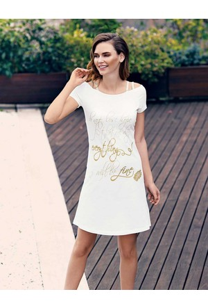 Mel Bee Baskılı Elbise Beyaz MBP23303-1