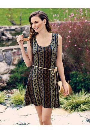 Mel Bee Desenli ve Kemerli Kadın Elbise MBP23306-1