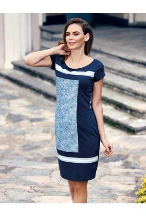 Mel Bee Yaprak Desenli Elbise Lacivert MBP23307-1