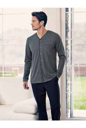 Şahinler Düğmeli Erkek Pijama Takımı Gri MEP23532-1
