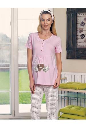 Şahinler Lohusa Pijama Takımı Ve Terlik Pudra MBP23418-1