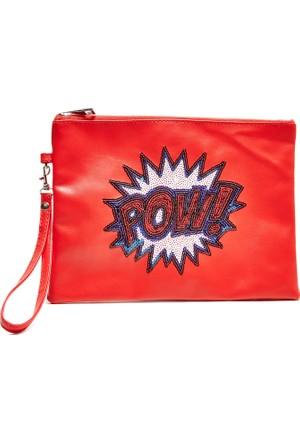 Hogg Parmak Baskılı Kırmızı Çanta