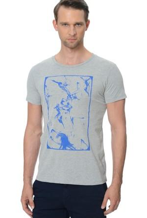 Fabrika Baskılı Gri T-Shirt