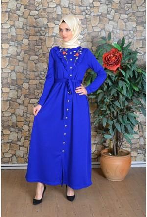 Modayns Nakış ve Fırfır Detaylı Elbise