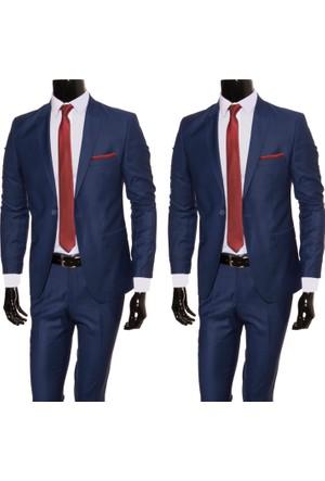 GiyimGiyim Erkek Dar Kesim Lacivert Takım Elbise