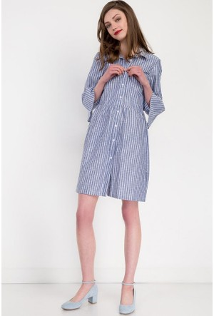 Bsl Fashion Lacivert Elbise 9263