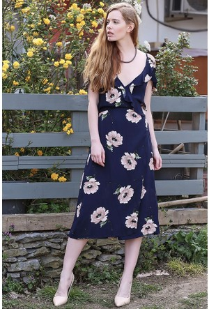Bsl Fashion Lacivert Elbise 9260