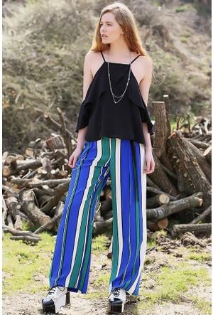 Bsl Fashion Saks Mavi Pantolon 9264