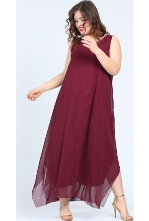 Valeria Fratta Rahat Kesim Şifon Maxi Vişne Elbise Abiye VF7019
