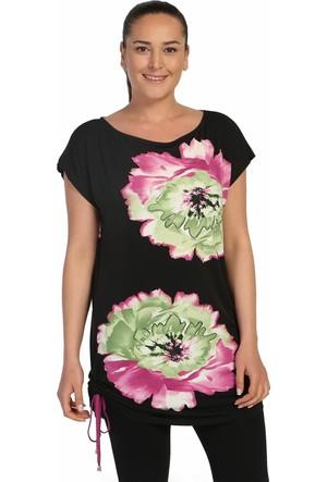 Lir Bayan Önü Çiçek Baskılı Yarım Kollu Bluz Siyah 2093