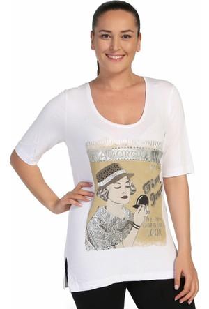 Lir Bayan Taşlı Baskılı Bluz Beyaz 2095