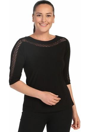Lir Bayan Taşlı Dantel Detaylı Bluz Siyah 2100