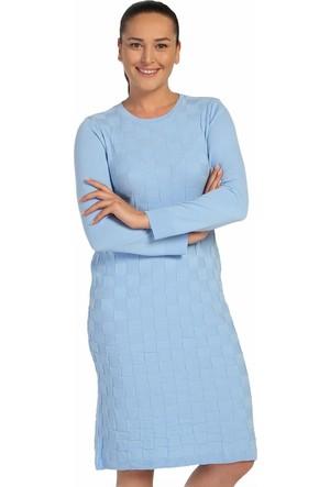 Lir Bayan Mevsimlik Triko Elbise Mavi TRK-8537