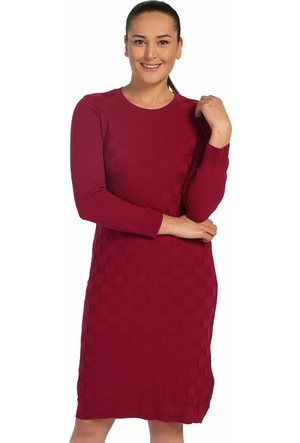 Lir Bayan Mevsimlik Triko Elbise Fuşya TRK-8537