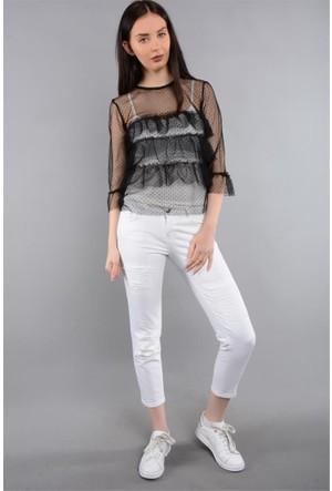 Rodin Hills Beyaz Kadın Kot Pantolon Boy Frend Lb-999