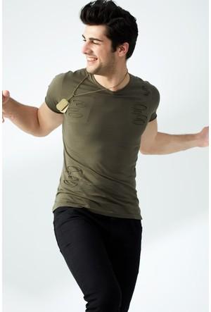 FullaModa Yırtık T-Shirt 17YRETRO0001313