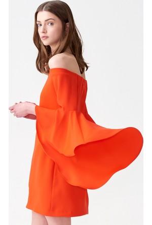 Dilvin 9665 Düşük Omuz Kolu Volanlı Elbise - Kırmızı
