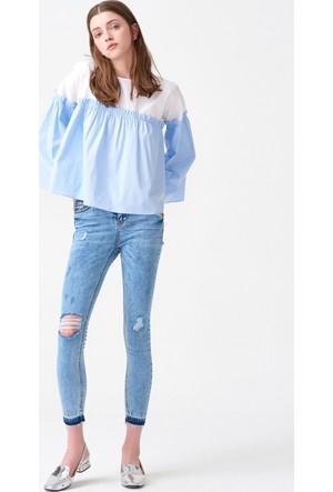 Dilvin 7199 Yüksek Bel Yırtıklı Kot Pantolon - Mavi