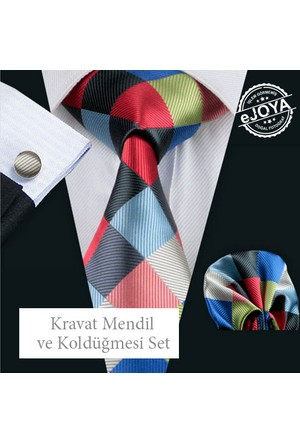 Ejoya Kravat Mendil Kol Düğmesi Set -14