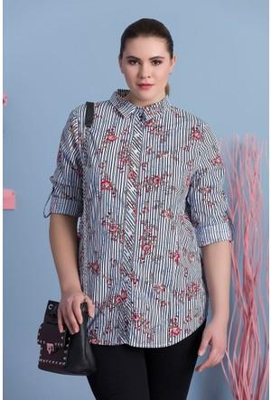 Rmg Kadın Büyük Beden Desenli Gömlek Lacivert
