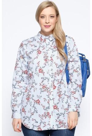 Rmg Kadın Büyük Beden Desenli Gömlek Mavi