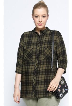 Rmg Kadın Büyük Beden Ekoseli Gömlek Haki