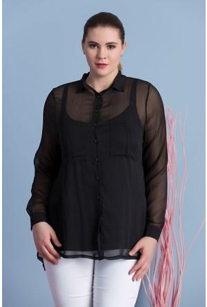 Rmg Kadın Büyük Beden Şifon Gömlek Siyah