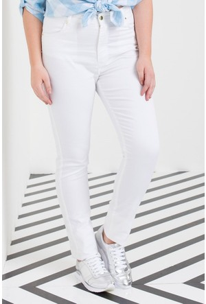 Rmg Kadın Büyük Beden Pamuk Pantolon Beyaz