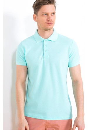 Cazador Polo Yaka Slim Fit ErkekT-Shirt Aqua Yeşil 4613